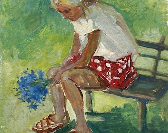 VINTAGE CHILD PORTRAIT, Original Oil Painting by Volkova N. 1960's Portrait of a girl, Ukrainian Fine Art, Handmade artwork, One of a kind