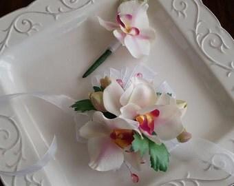 Orchid Wrist Corsage and Matching Boutonniere    Prom Set   Wedding Set