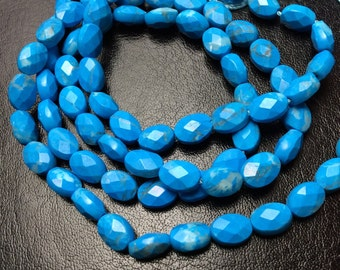 """Turquoise Howlite Faceted Flat Oval Gemstone Beads, 5x7, 16"""" Strand/Partial Strand"""