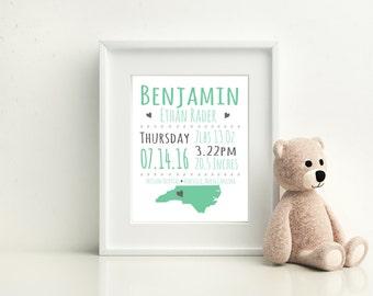 Custom Baby Announcement Wall Print, Newborn Gift, Baby Room Print, Christening Gift, Nursery Art
