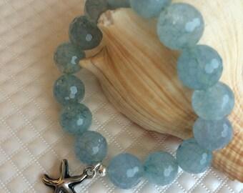 Light Blue Faceted Bead Bracelet
