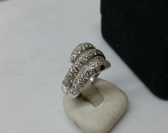 925 Silver ring snake Crystal stones SR619