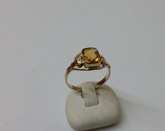 Gold ring with citrine 333 nostalgia vintage GR161