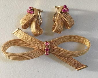 Vintage Designer Cellino 14K Yellow Gold and Ruby Bow Brooch and Matching 14K Ruby Clip-On Earrings