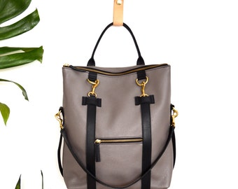 3-in-1 Leather Backpack Taupe Grey Convertible Backpack Laptop Bag Shoulder Bag Tote Bag Mabel Pack