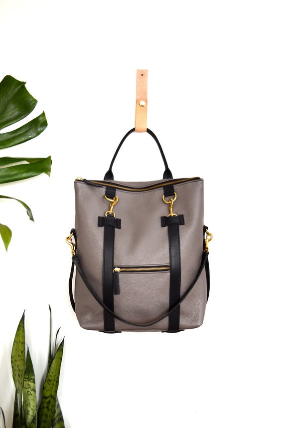 3-in-1 Leather Backpack Taupe Grey Convertible Backpack Laptop