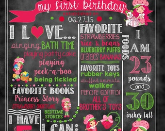 "Strawberry Shortcake Birthday Stat ""Chalkboard""(digital poster)- New or Vintage"