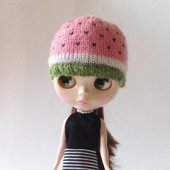 Crochet Hat Pattern For Blythe : Hat Watermelon Knitting for doll Blythe Watermelon Hat
