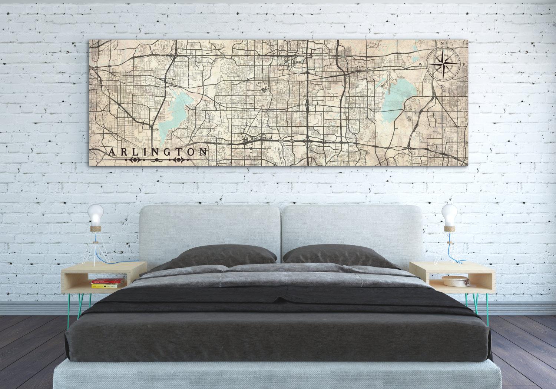 Arlington Tx Canvas Print Tx Texas Vintage Map Arlington