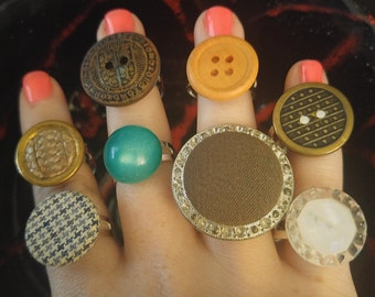 Vintage Button Adjustable Rings