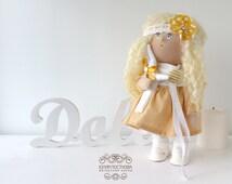 Sunny doll Tilda doll Art doll handmade yellow blonde colors Baby doll Soft doll Cloth doll Fabric doll toy by Master Yulia Postnova