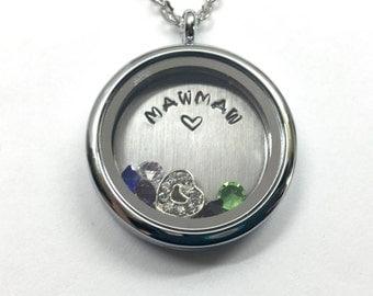 MAWMAW - Plain Silver Edge or Custom Floating Charm Locket - Memory Locket - Custom Hand Stamped Gift for Mom or Grand
