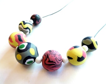 Chunky Mod Necklace, Abstract Beaded Necklace, Chunky Clay Bead Necklace, Matte Bead Necklace, Polymer Clay Jewelry, Statement Necklace