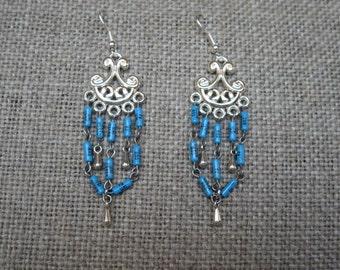 Sky Blue Resistor Chandelier Earrings