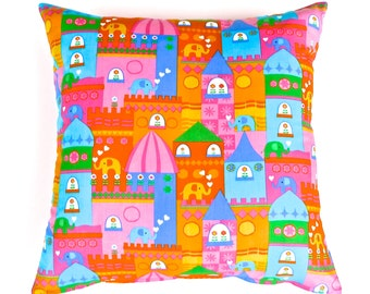 Children's Elephants at The  Circus Pillow in Bright Colours