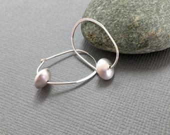 Sterling silver hoops, Silver bead hoop earrings, Bridesmaids earrings, Sterling silver hoop earrings, Large silver hoop earrings