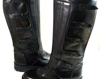 Motorcycle Boots - US size 9.5\EU size 43 , Officer leather boots, Black Boots, Vintage Boots, Italian Police, Carabinieri, Police Boots