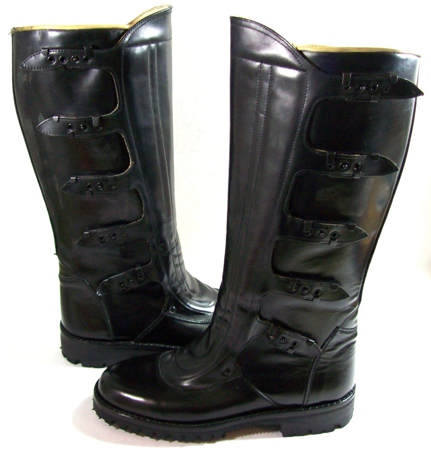 Motorcycle boots us size 9 5eu size 43 by retrovintageplanet Police motor boots