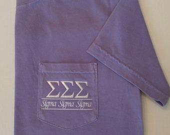 Sorority Shirts, Sigma Sigma Sigma, Tri Sigma, Sorority Shirt, Greek Letters, Pocket T Shirt, Monogrammed Pocket T, Personalized T Shirt