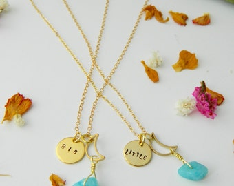 Big & Little Charm Necklace Set | Matching Necklaces | Sorority Jewelry | Matching Big/Little Jewelry | Stamped Necklaces |Sorority Gift Set