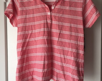 Vintage red & white striped polo, size large