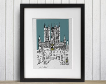 Lincoln Cathedral doodle print