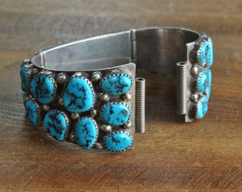 Vintage Navajo Sterling Silver And Turquoise Watch Band