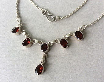 Garnet and Sterling Silver Pendant and Chain Necklace