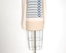 vintage 70s sweater cream blue chevron stripe geometric jumper top shirt 1970s 70s clothing XS