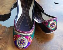 Ballet Flats- Khussa Shoes- Mojari- Slip Ons- Jooties- Handmade- Embroidery- Ethnic- Tribal- Traditional Wedding Shoes- Gypsy- Hippie- Boho