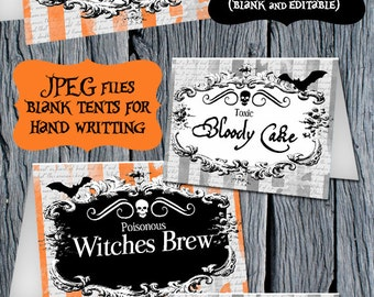 Halloween Food Tents - Halloween Party Food Labels - Halloween Editable Tents - Printable Food Tent - Halloween Printables - Tented Labels