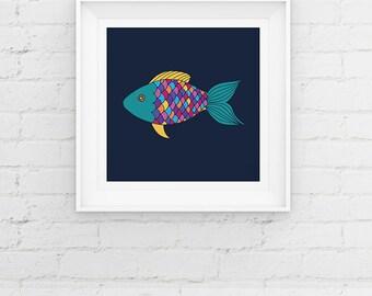 Rainbow Fish Nursery Art Print Contemporary Fish Giclee Art Print