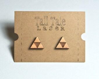 Triforce Earrings Wood Hypoallergenic