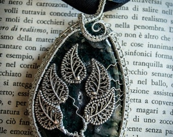 "Moss Agate ""Arcadia"" pendant - Wire Jewellery"