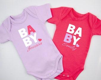 PERSONALIZED TWIN Baby Girl Bodysuits, Set of 2 - Purple & Fuchsia Pink, Twin Girls Baby Shower, Cute Baby Twin Gift, Personalized Twin Gift