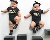 Rock and roll onesie. Rock and roll baby. Rock and roll shirts. Rock and roll baby shower. Rock and roll gift. Cute twin onesie. Twin gift.