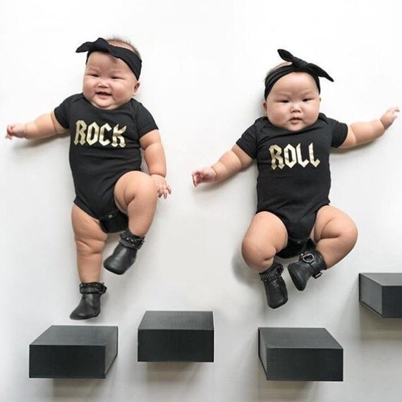 Twin Baby Gift Twins Matching Outfit Twin Onesies Rock and ...