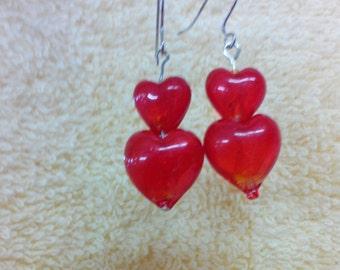 Ear Rings-Double Hearts