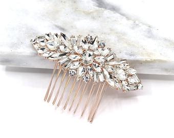 Rose Gold Swarovski Bridal Hair Comb Crystal Wedding Hair Comb Wedding Headpieces