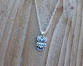 925 Sterling silver Owl Necklace,Owl pendant, Silver Owl Jewelry,Choose chain,Tiny Sterling Silver