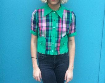 Vintage 70s Mod Short Checker Blouse Size XS
