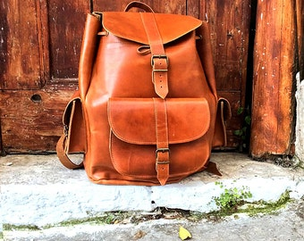 Leather backpack | Etsy