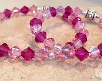 Pink and purple mother-daughter bracelet set, crystal bead mom daughter bracelets, gift for daughter, stretch bracelets, gift for mom