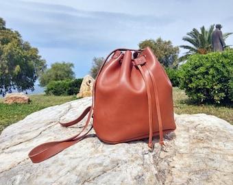 Handmade Shoulder Bag. Women's Bucket Bag, Oiled Tanned Tobacco Leather Bag. Full Grain Leather.