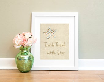 Twinkle Twinkle Print, Printable Wall Art, Twinkle Twinkle Little Star Print, 8x10 Digital Print, Nursery Print, Girls Room Art Print