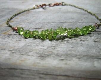 Peridot Nugget Chain Bracelet, Bridesmaid Gift, Copper Chain Bracelet, Peridot, Stacking Bracelet,  August Birthstone, Boho, Tennis Bracelet