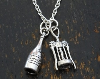 Wine Necklace, Wine Charm, Wine Pendant, Wine Jewelry, Corkscrew Charm, Corkscrew Pendant, Wine Lover Gift, Wine Lovers, 21 Birthday Gift