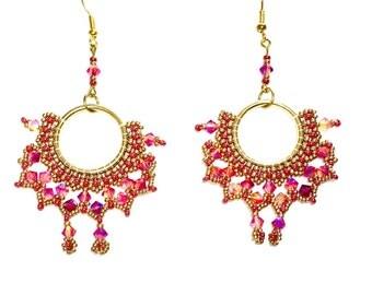 Hoop earrings gold Swarovski crystals earrings beadwork embryo glass Pearl Jewelry handmade