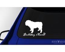Bulldog Mom, Bulldog Dog Car Window Decal Sticker