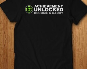 Achievement Unlocked Become a Daddy Pregnancy Gift idea Surprise new dad Announcement father Gift gamer Gift Idea Geek Video Games